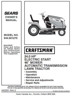 "944.601270 Manual for Craftsman 24 HP 46"" Lawn Tractor"