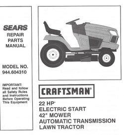 "944.604310 Manual for Craftsman 42"" Lawn Tractor"