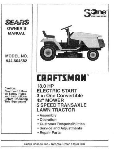 "944.604582 Manual for Craftsman 42"" 18HP Lawn Tractor"