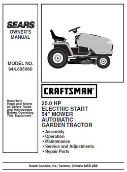 "944.605080 Manual for Craftsman 54"" Garden Tractor"
