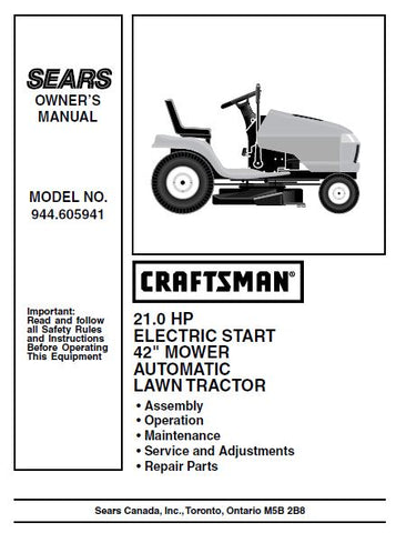 "944.605941 Parts List for Craftsman 42"" 21 HP Lawn Tractor"
