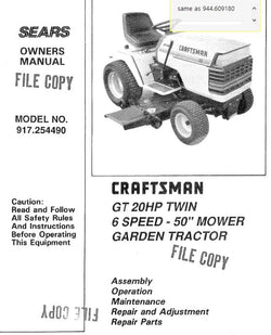 944.609180 Craftsman Manual for Garden Tractor 917254490