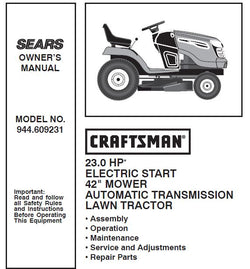 "944.609231 Manual for Craftsman 42"" Lawn Tractor"