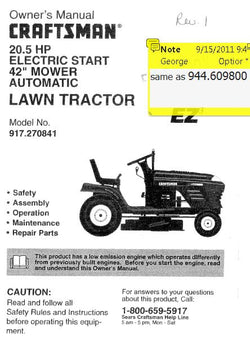 "944.609800 Manual for Craftsman 42""  Lawn Tractor"