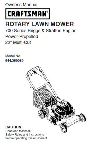 "944.360080 Manual For Craftsman 22"" Multi-Cut Lawn Mower 700 Series Power-Propelled"