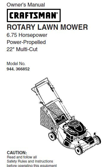 944.366852 Manual For Craftsman Lawn Mower Self-Propelled