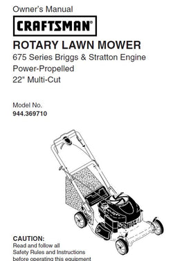 944.369710 Manual for Craftsman Lawn Mower Self-Propelled 22""