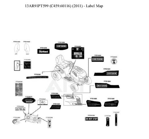 C459-60116 Parts List for Craftsman Lawn Tractor [2011]