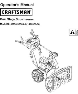 C950-52503-0 Manual for Craftsman Dual Stage Snowblower 1150 series 27""