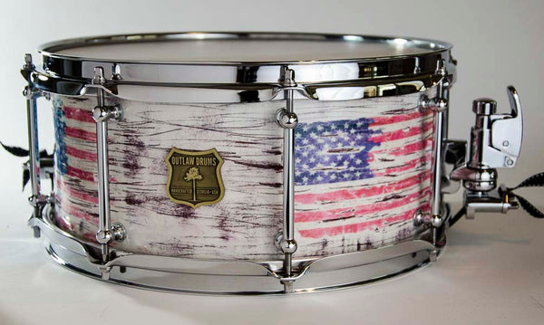 Outlaw Drums Segmented Purple Heart American Flag Distressed 13x6