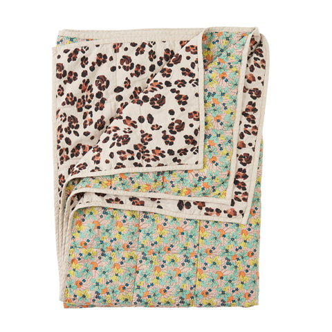 Marcie / Leopard Stripe Double Sided Quilt