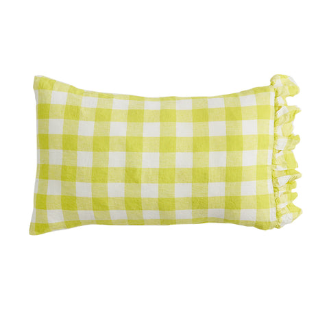 Limoncello Ruffle 100% Linen Standard Pillowcase Set