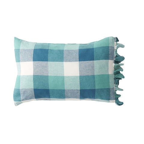 Peacock Check 100% Linen Ruffle Pillowcase Set