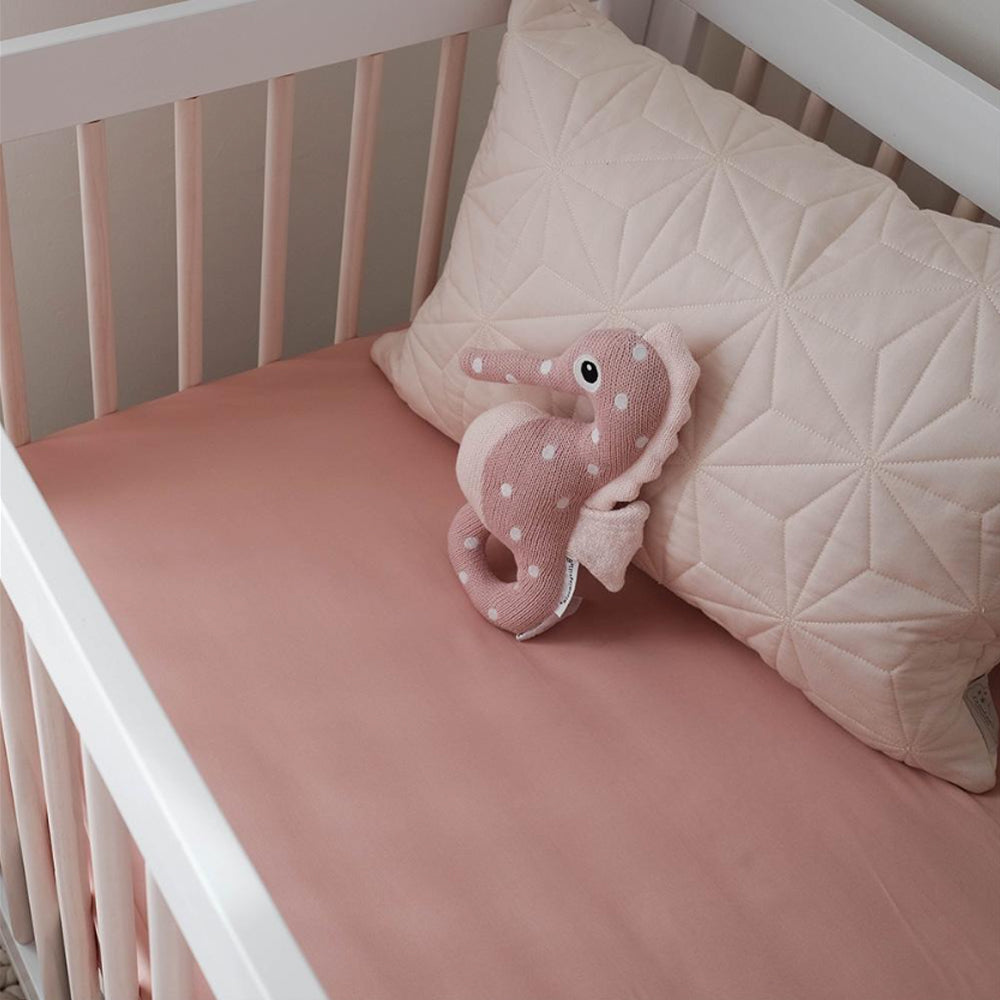 100% Organic Bamboo Fitted Cot Sheet - Rose