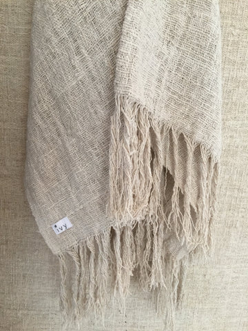 Tenun Throw with Fringe (Natural)
