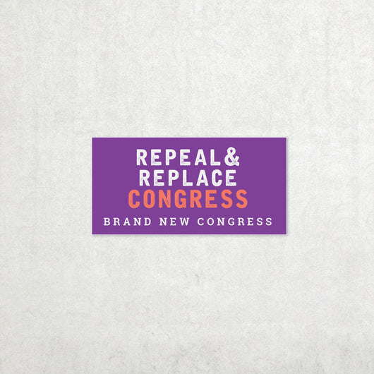 Repeal & Replace Congress Bumper Sticker Small - Purple