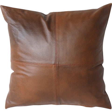 brown leather cushion, tan leather cushion