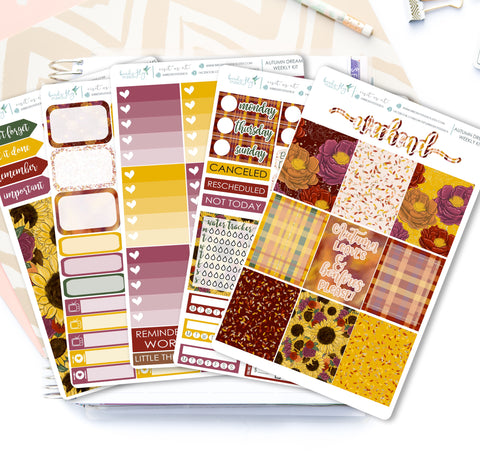 Autumn Dreams Weekly Kit Stickers - Birds Fly Studios Planner Stickers