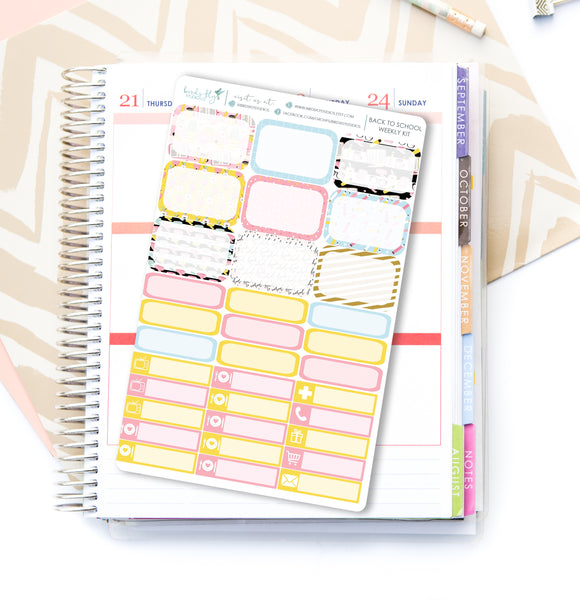 Back to School Weekly Kit Stickers - Birds Fly Studios Planner Stickers
