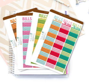 Set of 12 Bills to Pay Planner Sticker - Birds Fly Studios Planner Stickers