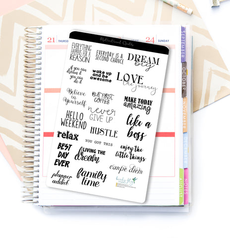 Black Motivational Quote Stickers - Birds Fly Studios Planner Stickers