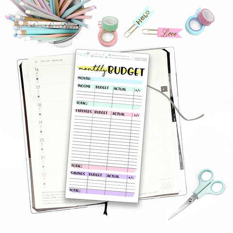 Hobonichi Weeks Monthly Budget for Note Pages - Birds Fly Studios Planner Stickers