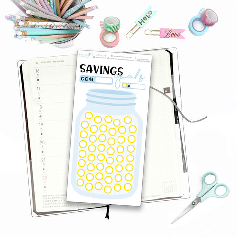 Hobonichi Weeks Savings Tracker for Note Pages - Birds Fly Studios Planner Stickers