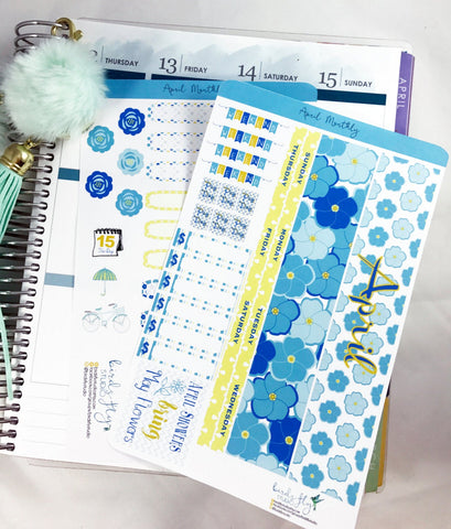 April MONTHLY Kit Planner Stickers - Birds Fly Studios Planner Stickers
