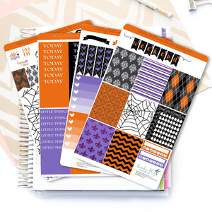 Glitzy Halloween Premium Weekly Kit Stickers - Birds Fly Studios Planner Stickers