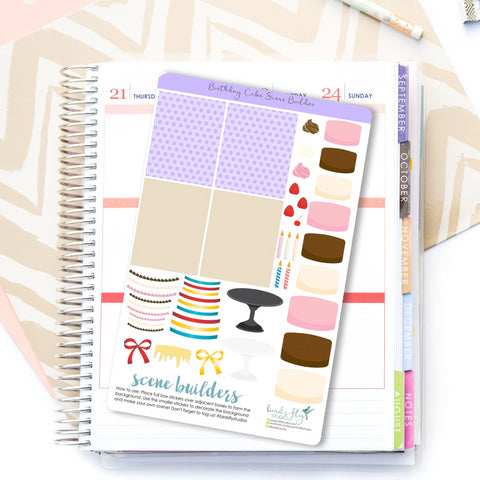 Birthday Cake Scene Builder Stickers - Birds Fly Studios Planner Stickers
