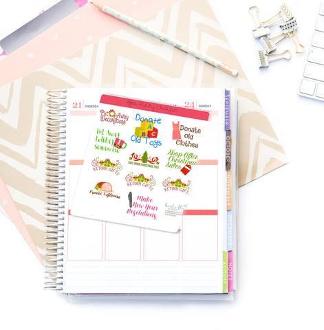 After Holiday Checklist Stickers - Birds Fly Studios Planner Stickers