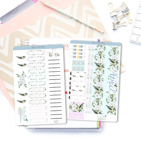 April MONTHLY Kit Planner Stickers 004 - Birds Fly Studios Planner Stickers