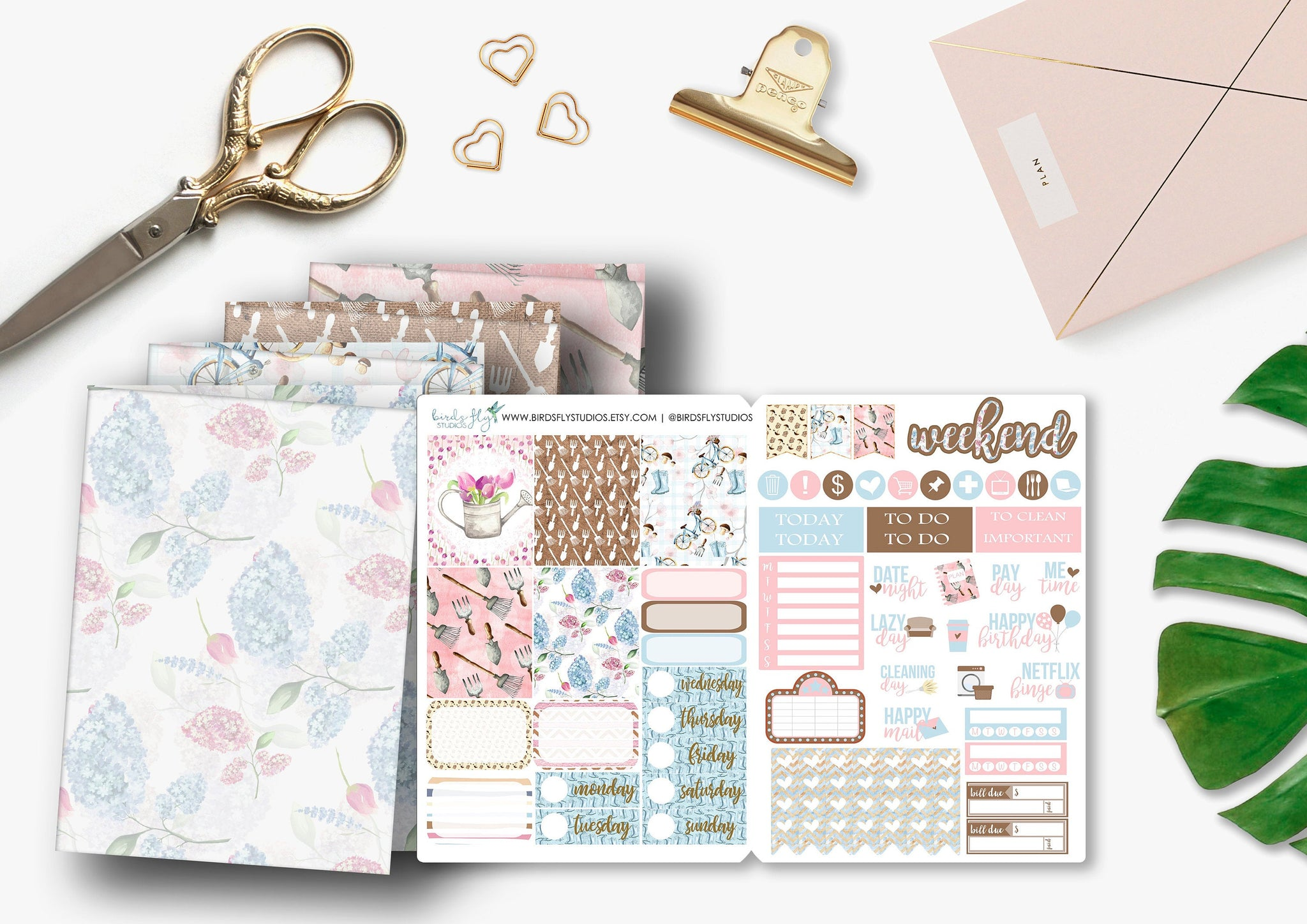 Spring Garden B6 TN Weekly Kit Stickers - Birds Fly Studios Planner Stickers