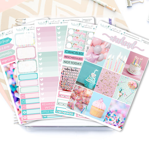Birthday Photo Weekly Kit Stickers - Birds Fly Studios Planner Stickers