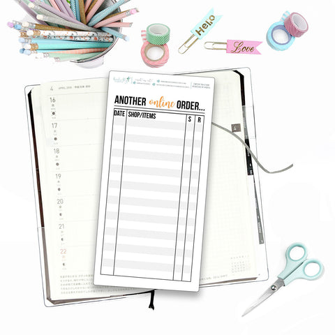 Hobonichi Weeks Online Order Tracker for Note Pages  / Hobonichi Weeks Note Page Stickers / Hobonichi Weeks Functional / Order Trackers - Birds Fly Studios Planner Stickers