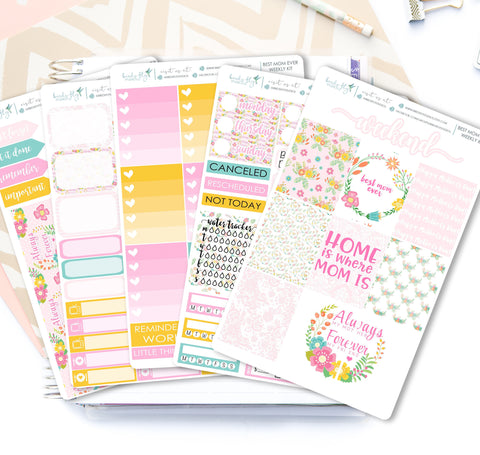 Best Mom Ever Mother's Day Weekly Kit Stickers - Birds Fly Studios Planner Stickers
