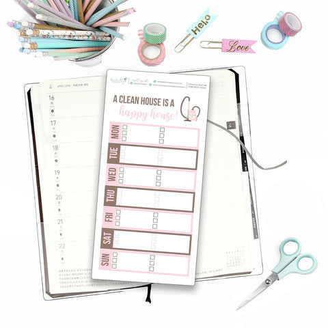 Hobonichi Weeks Cleaning Tracker for Note Pages  / Hobonichi Weeks Note Page Stickers / Hobonichi Weeks Functional / Cleaning Trackers - Birds Fly Studios Planner Stickers