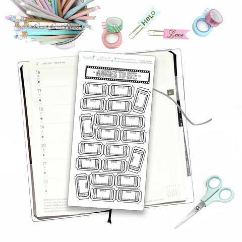 Hobonichi Weeks Movies to See Tracker for Note Pages  / Hobonichi Weeks Note Page Stickers / Hobonichi Weeks Functional / Movie Trackers - Birds Fly Studios Planner Stickers