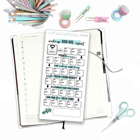 Hobonichi Weeks Weight Loss Tracker for Note Pages  / Hobonichi Weeks Note Page Stickers / Hobonichi Weeks Functional / Weight Loss Trackers - Birds Fly Studios Planner Stickers