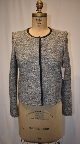 IRO grey Tweed Jacket with Leather size 1