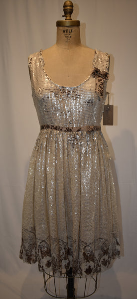 Miu Miu white/brown sequin Dress size 42