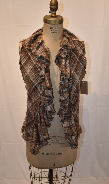 Cari Borja plaid Vest size Medium