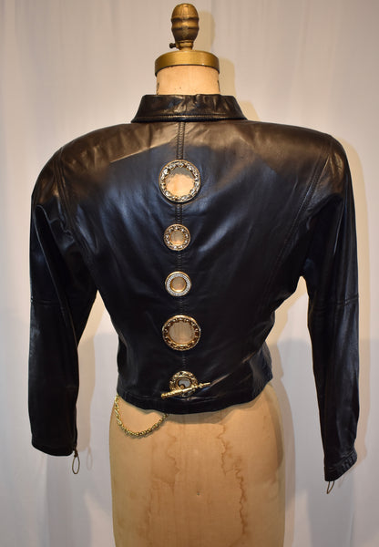 Gianfranco Ferre black Leather Jacket size Small