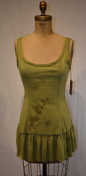 Alabama Chanin green Tank Dress size Small
