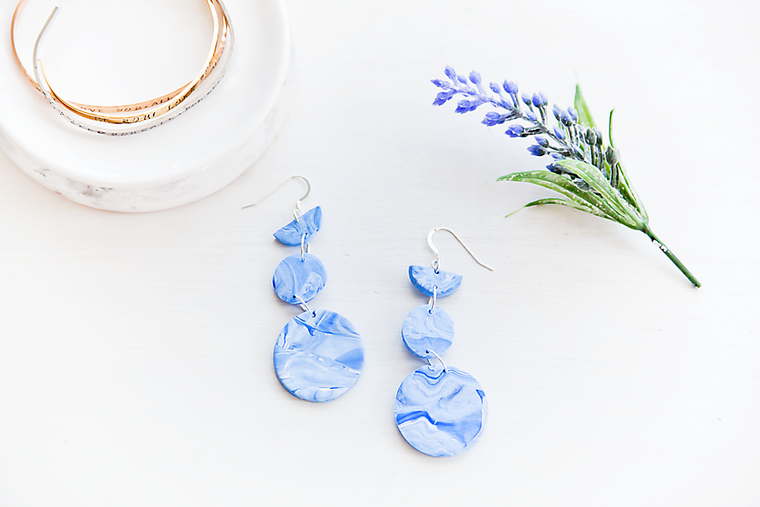 Blue marble pendant earrings