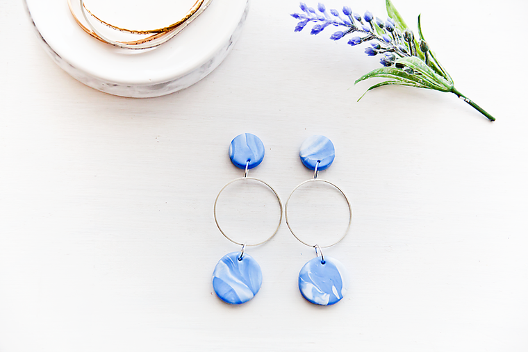 Blue marble brass ring pendant style earrings