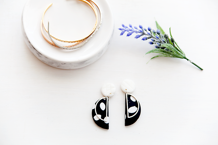 Black and White half moon brass pendant studs.