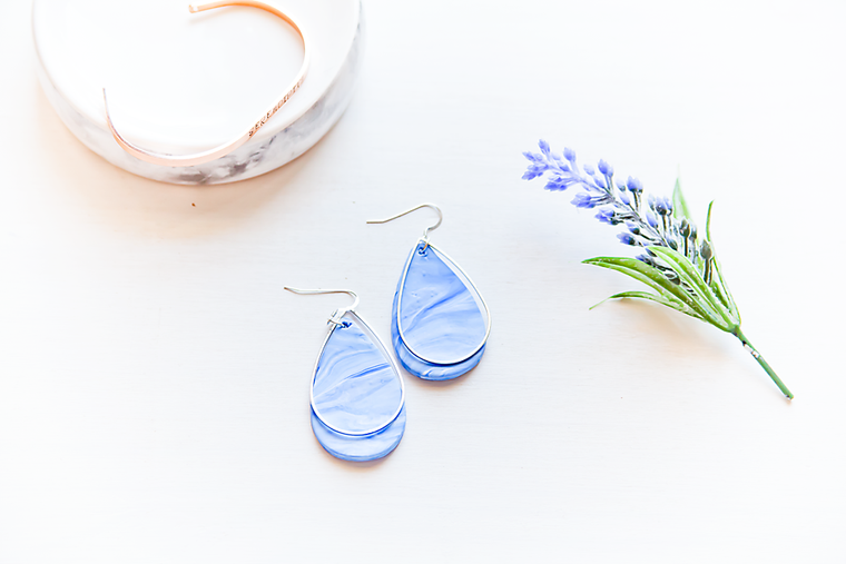 Blue marble teardop pendant earrings