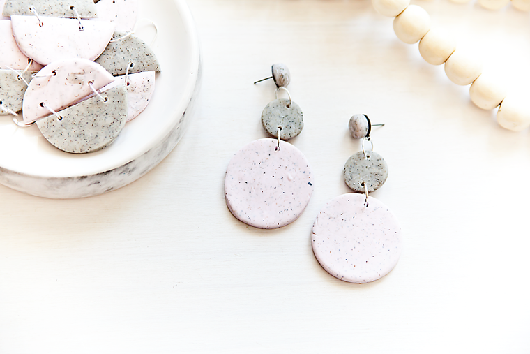 Duo colour Pendant Earrings