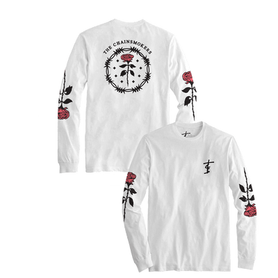 Roses Long Sleeve Tee - White - The Chainsmokers